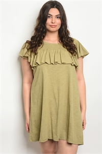 S15-5-5-D42155X OLIVE PLUS SIZE DRESS 2-2-2