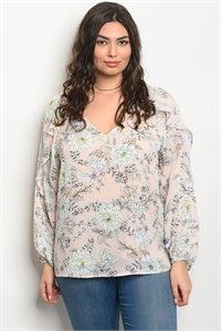 S15-3-1-T23719X BLUSH FLORAL PLUS SIZE TOP 3-2-1