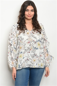 S15-8-1-T23719X WHITE FLORAL PLUS SIZE TOP 3-2-1