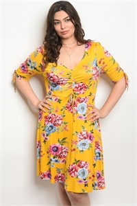 119-2-2-D584727 YELLOW FLORAL PLUS SIZE DRESS 2-2-2