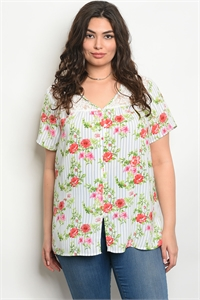 S15-12-4-T16879X IVORY BLUE FLOWERS PLUS SIZE TOP 2-2-2
