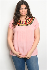 S10-18-3-T49194X PINK PLUS SIZE TOP 2-2-2