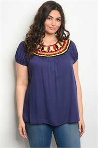S10-18-3-T49194X NAVY PLUS SIZE TOP 2-2-2
