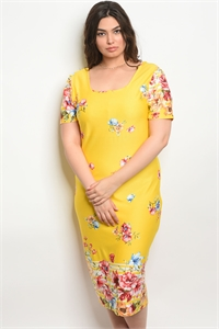 S15-12-2-D16894X YELLOW FLORAL PLUS SIZE DRESS 2-2-2