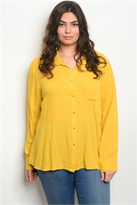 S11-1-1-T59129X MUSTARD PLUS SIZE TOP 2-2-2