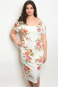 109-2-1-D16880X OFF WHITE FLORAL PLUS SIZE DRESS 2-2-2
