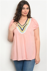 121-1-3-T49193X SALMON PLUS SIZE TOP 2-2-2