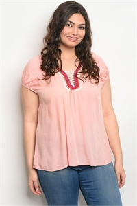 109-2-1-T49192X SALMON PLUS SIZE TOP 2-2-2