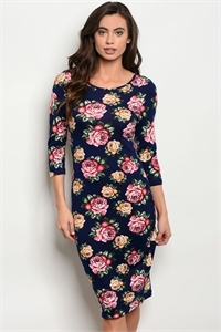 S16-3-2-D14933 NAVY WITH ROSES PRINT DRESS 2-2-2