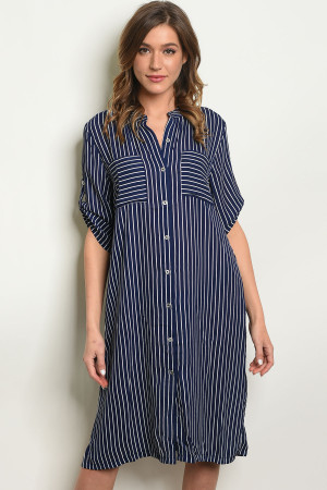 S11-1-1-D14498 NAVY WHITE STRIPES DRESS 2-2-2