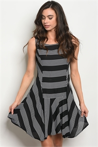 S15-4-5-D13510 BLACK WHITE STRIPES DRESS 2-2-2
