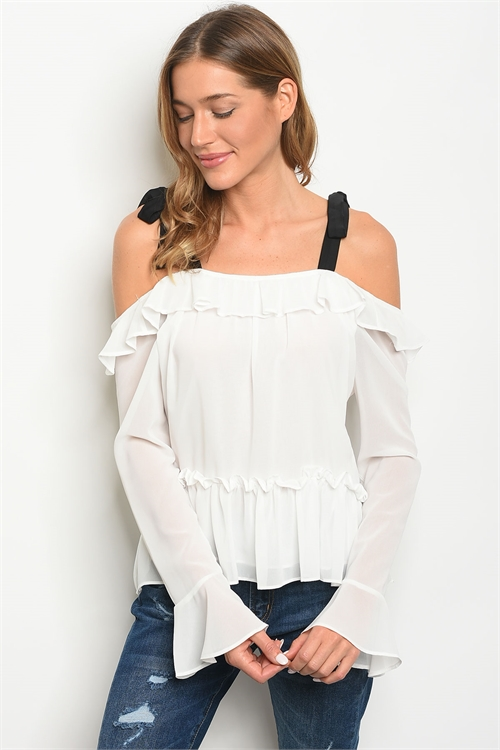 S14-5-4-T21883 IVORY BLACK OFF SHOULDER TOP 2-2-2