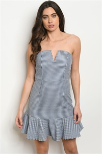 S18-10-2-D5055 NAVY WHITE CHECKERS DRESS 3-2-1