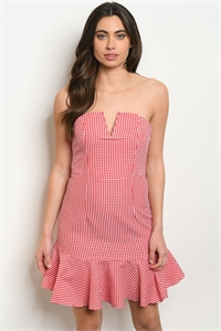 S16-6-1-D5055 RED WHITE CHECKERS DRESS 3-2-1
