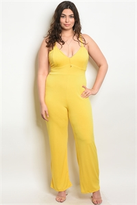 C91-A-2-J1679X YELLOW PLUS SIZE JUMPSUIT 2-2-2