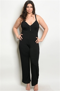 C89-A-2-J1679X BLACK PLUS SIZE JUMPSUIT 2-2-2