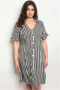 C83-A-4-D1633X WHITE BLACK STRIPES PLUS SIZE DRESS 2-2-2