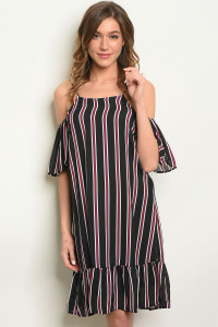 S16-5-3-D4559 BLACK WINE STRIPES DRESS 2-2-2