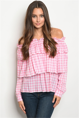 112-5-1-T21703 WHITE PINK CHECKERS TOP 2-2-2