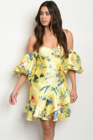 S16-7-3-D73111 YELLOW FLORAL DRESS 3-2-2