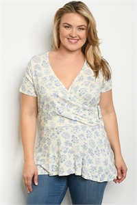 C98-A-6-T9793X BLUE FLORAL PLUS SIZE TOP 2-2-2