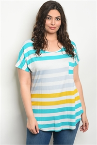 C100-B-4-T9755X AQUA STRIPES PLUS SIZE TOP 2-2-2