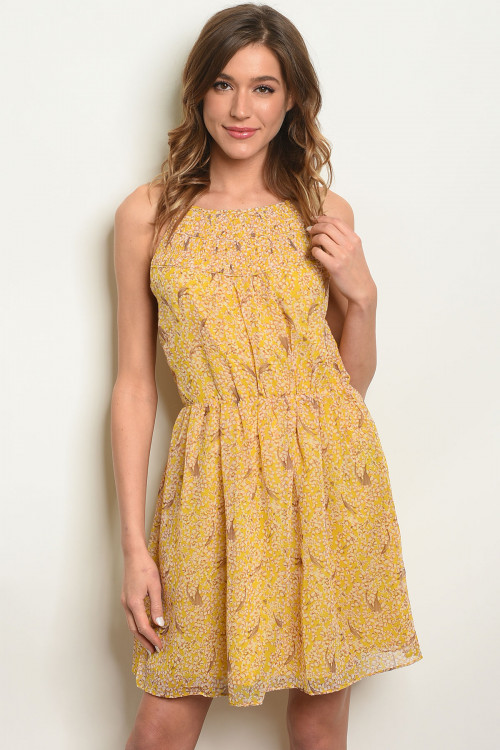 114-4-2-D62122D YELLOW PRINT DRESS 2-2-2