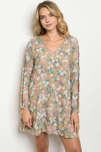 S22-6-4-D0122 TAUPE FLORAL DRESS 2-2-2