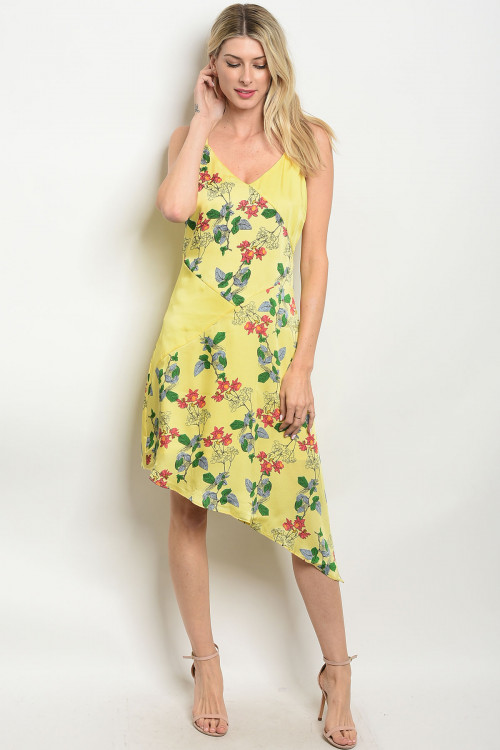 114-5-3-D62452D YELLOW FLORAL DRESS 2-2-2