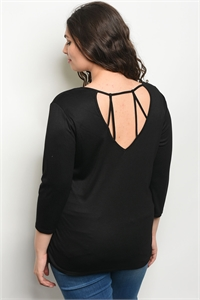 C93-A-3-T20847PL BLACK PLUS SIZE TOP 2-2-2