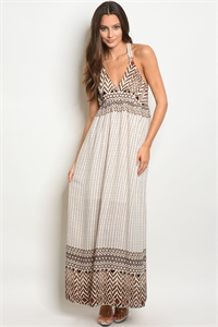 S15-11-6-D14493 BROWN IVORY DRESS 2-2-2