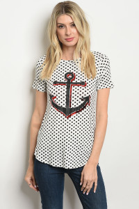 C52-B-6-T3833 WHITE POLKA DOT TOP 2-2-2