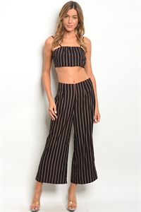 S4-9-4-SET16906 BLACK WINE STRIPES TOP & PANTS SET 2-2-2