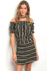 S23-7-2-SET25505 BLACK MUSTARD STRIPES TOP & SKIRT SET 3-3-2