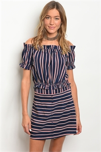 S23-11-4-SET25505 NAVY RED STRIPES TOP & SKIRT SET 2-2-2
