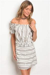 S23-7-2-SET25505 IVORY BLACK STRIPES TOP & SKIRT SET 3-1-2