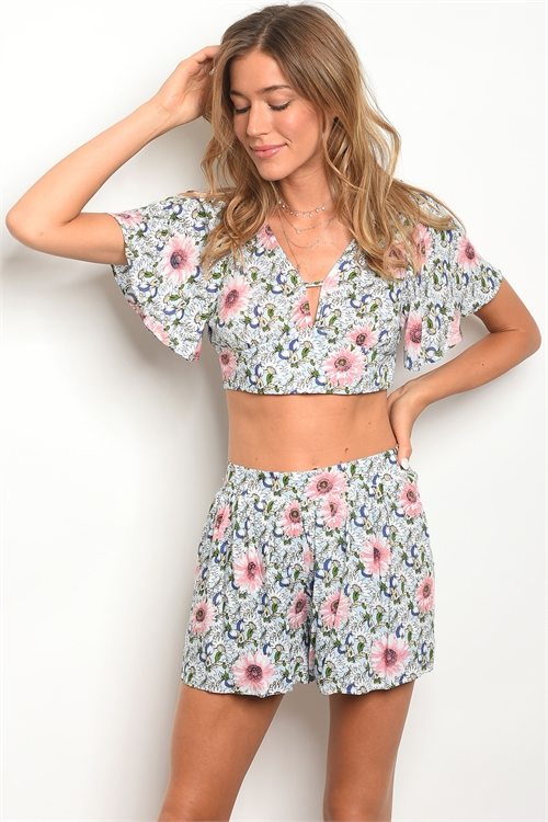S23-7-2-SET16901 BLUE FLORAL TOP & SHORTS SET 3-2-2
