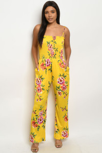 136-2-1-J51452 YELLOW FLORAL JUMPSUIT 2-2-2