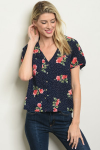 S2-7-1-T59269 NAVY FLORAL TOP 2-2-2