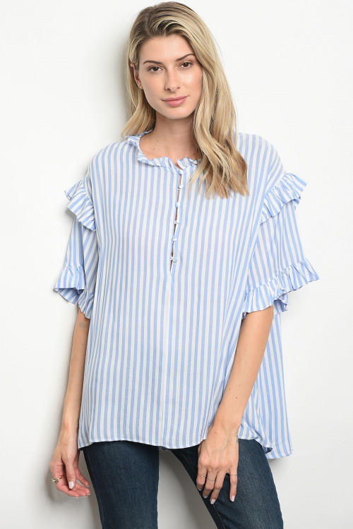 112-3-3-T13486 BLUE WHITE STRIPES TOP 3-2-1