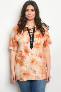 C46-A-2-T12273X RUST TIE DYE PLUS SIZE TOP 2-2-2