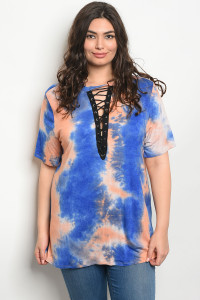 C46-A-5-T12273X PEACH BLUE TIE DYE PLUS SIZE TOP 2-2-2