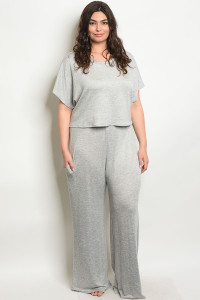 C41-A-1-SET251X GRAY PLUS SIZE TOP & PANTS SET 2-2-2