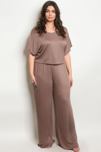 C43-A-5-SET251X BROWN PLUS SIZE TOP & PANTS SET 2-2-2
