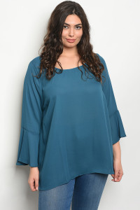C65-A-4-T12353X DARK JADE PLUS SIZE TOP 1-3-4