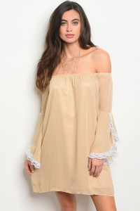 S6-2-4-D8542 KHAKI WHITE DRESS 1-2