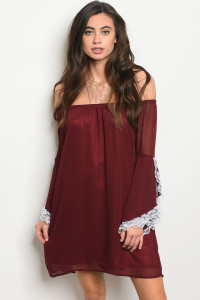 S7-1-2-D8542 BURGUNDY WHITE DRESS 1-2-2-1