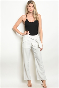 S16-7-6-P47053 WHITE BLACK STRIPES PANTS 2-2-2