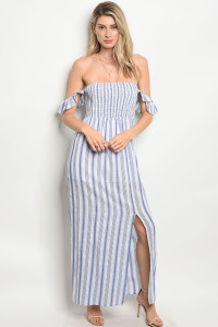 S10-12-1-D879 BLUE WHITE STRIPES DRESS 2-2-2