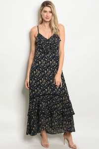 S2-4-4-D917 NAVY FLOWER PRINT DRESS 2-2-2